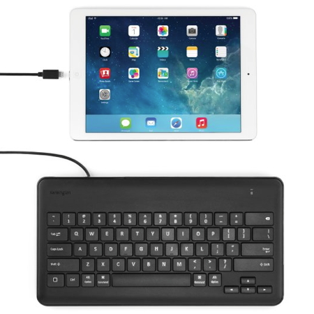macsense kensington wired keyboard for ipad with lightning connector black. Black Bedroom Furniture Sets. Home Design Ideas